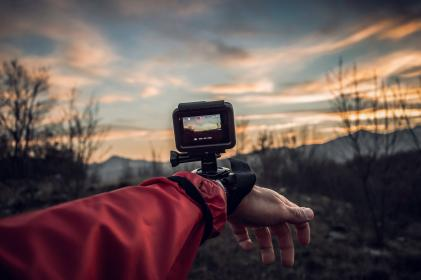 camera, go pro, people, hand, mount, nature, record, video, clouds, sky