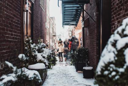 snow, winter, white, cold, weather, people, woman, man, picture, photography, photo, street, alley, building, establishment, store, shop