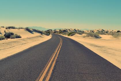 sky, country, road, winding, desert, sand, bushes, plants, mountains, hills, lines