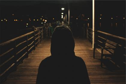 hoodie, sweater, dark, night, evening, shadows, people, boardwalk, pier