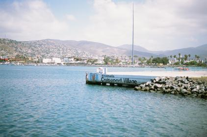 port, water, docks, mountains, village, city, water, boats, yachts, sails, ensenada, mexico, palm trees