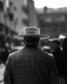 blur, people, old, man, male, walking, alone, back, coat, hat