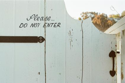 gate, wood, white, do not enter, handle