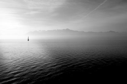 black and white, sailboat, water, sky, clouds, lake, sea, mountains