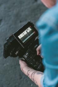 people, man, camera, cinematographer, red, video, production, tattoo, record, film, movie
