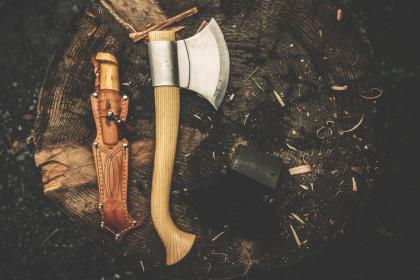 knife, axe, sharp, wood, outdoor, hatchet