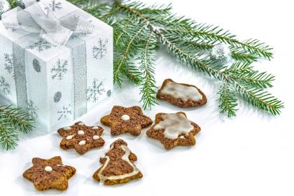 christmas, trees, gift, box, cookie, food, sweets, pastry