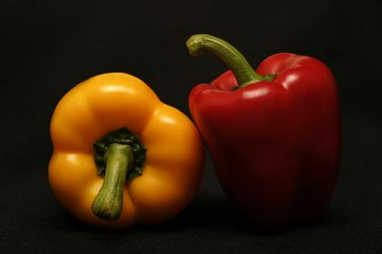 food, cook, spice, ingredients, red, yellow, bell, peppers, styling, minimalist, still, bokeh