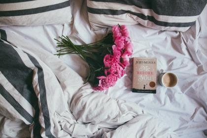 flowers, bouquet, pink, blossom, plant, nature, bed, sheet, book, coffee, pillows, white