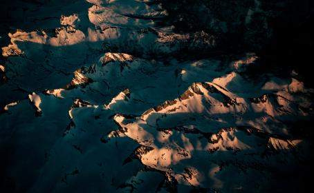 aerial, view, mountain, landscape, snow, winter, sunny, day