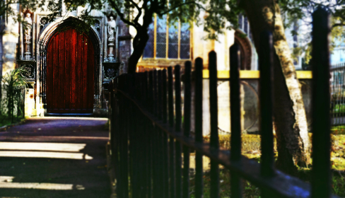 church,  pathway,  path,  door,  sunlight, fence,  metal, steel,  doorway,  red