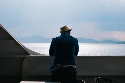 nature, landscape, water, ocean, sea, beach, people, man, hat, deck, ship, yacht, clouds, sky, travel, adventure