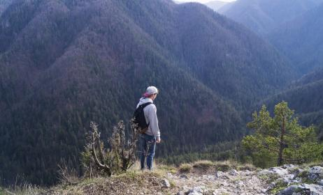 guy, man, male, people, side, view, contemplate, style, backpack, nature, mountains, travel, trek, hike, climb, summit, peaks, fog, vegetation, grass, trees, rocks