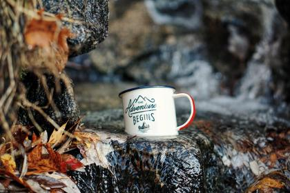 cup, mug, logo, rock, water, leaf, fall, river, water