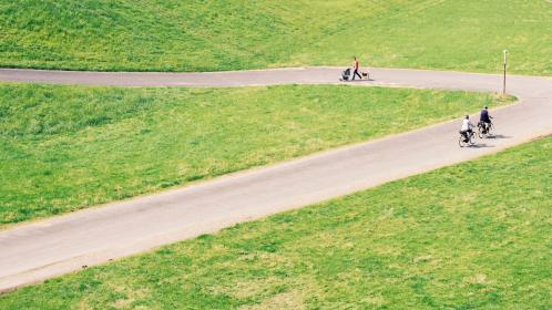green, grass, lawn, field, road, street, path, bike, people, fitness, exercise, walking, outdoor