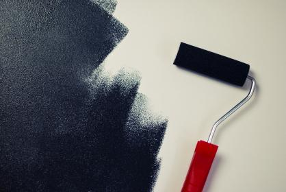 painting, paint roller, black
