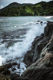 sea, ocean, water, waves, nature, rock, coast, hill, cliff, mountain, highland, landscape, trees, plant, cloud, sky,forest