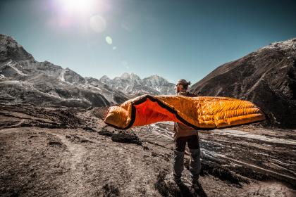 people, man, travel, adventure, bed, camp, mountain, sky, sun, flare, alone, trek, climb, hike