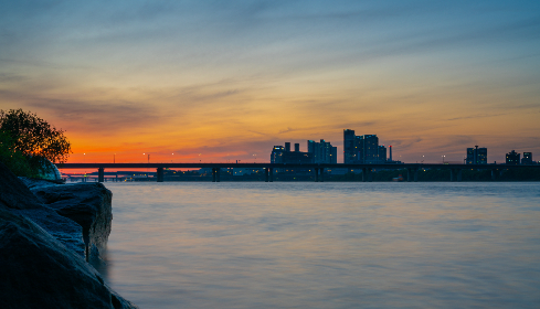 sunset, river, city, korea, seoul, han river, water, sky, clouds, buildings, dusk, outdoors, travel