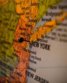 map, New York, New Jersey, pin, USA, United States