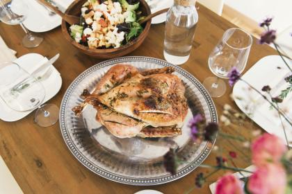 food, chicken, table, lunch, plate, glass, utensils, delicious