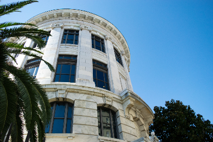marble,  building,  exterior,  architecture,  structure,  windows,  palm trees,  sky,  outdoors,  facade, travel, tourism