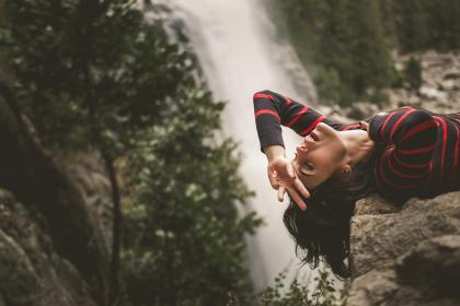 waterfalls, trees, plants, nature, rocks, hill, landscape, people, girl, relax