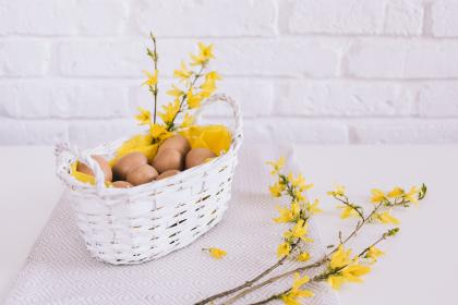 white, wall, basket, yellow, flowers, cloth, eggs, easter