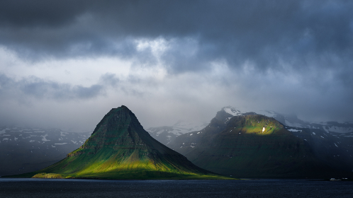 moody,  landscape,  mountain,  clouds,  ocean,  water,  sky,  nature,  outdoors,  climate,  storm,  weather,  gloomy,  dark,  terrain,  sunlight