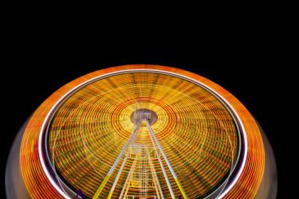 fun, carnival, lights, ferris, wheel, orange, round, motion, long, exposure