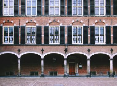 The Hague, Netherlands, government, building, architecture, bricks, arches, windows, shutters, cobblestone