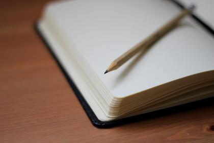 pencil, write, notebook, paper, desk, wooden, table