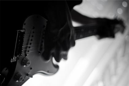 electric guitar, musician, musical instrument, music, black and white