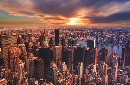 urban, city, establishment, building, structure, infrastructure, tower, clouds, sky, aerial, sunset, clouds, sky, skyline