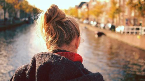 girl, woman, people, blonde, hair, hood, fashion, river, bridge, city, sunshine, outdoors