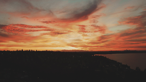 aerial,  city,  sunset,  drone,  sky,  clouds,  dusk,  evening,  water,  seattle