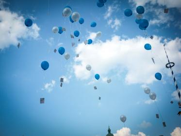 wedding, balloons, sky, clouds, Munich, Bavaria, Germany