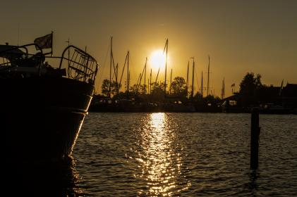 sailboats, harbor, harbour, water, sunset, dusk, night, dark