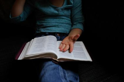 people, kid, girl, child, hand, reading, book, bible, words