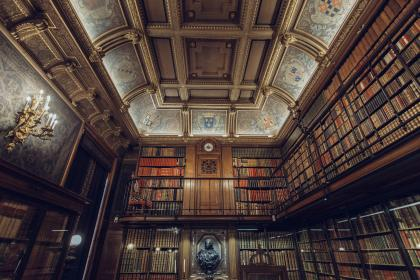 library, books, architecture, ceiling