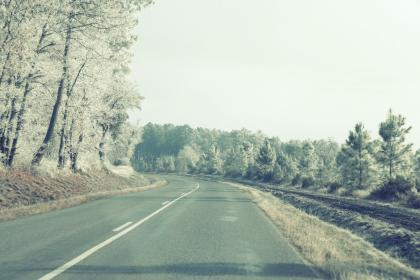 road, pavement, highway, rural, trees, country, sky