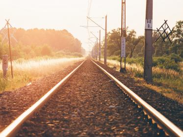 train tracks, railroad, railway, transportation, sunset, rural, nature