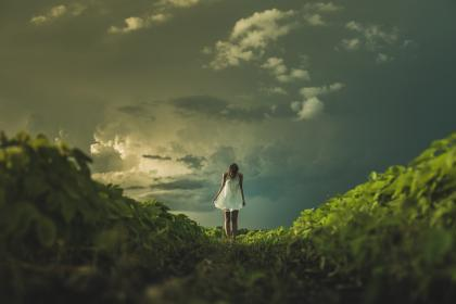girl, woman, dress, grass, nature, landscape, sky, clouds, people, dark, storm, green, beauty