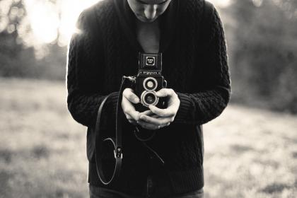 black and white, camera, man, argoflex, lens, picture, strap, sweater, people