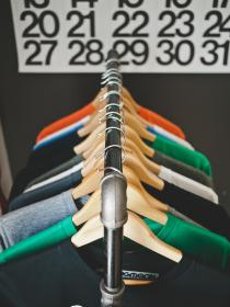 clothes, shirts, sweaters, hangers, rack, numbers, retail, shopping
