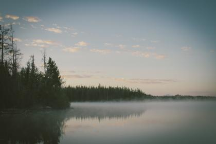 sky, clouds, trees, forest, woods, outdoors, lake, mist, fog, haze, hazy, water, nature