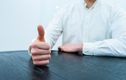 thumbs,  up,  business,  man,  table,  gesture,  professional,  work,  concept,  approval,  positive,  person,  office,  hand