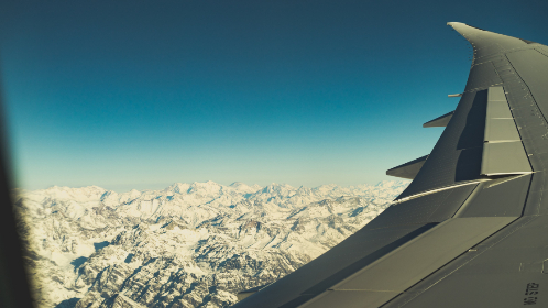 air,  plane,  wings,  sky,  snowy,  mountains,  flying,  travel,  transport,  aircraft,  jet,  altitude,  view,  horizon