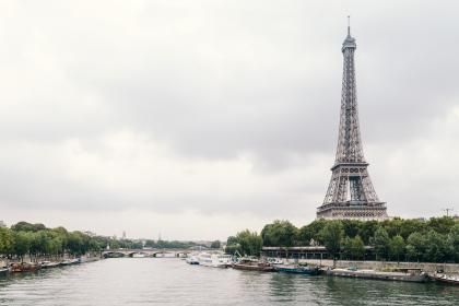 architecture, structure, eiffel, tower, trees, bay, boats, yachts, river, seine, nature, sky, clouds, perspective, industrial, bridge, paris, france