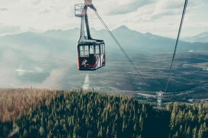 gondola, lift, cables, mountains, landscape, nature, trees, fields, forest, sky, sunshine, sunlight, adventure, outdoors, clouds